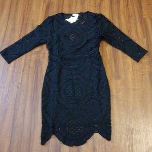 Dresses & Skirts - Classy Black Crochet Mini Dress Small
